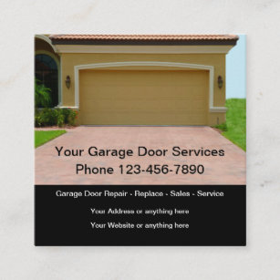 Garage Door Square Business Cards Template