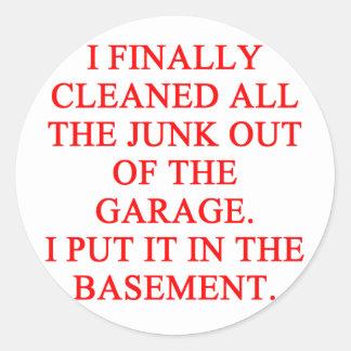 GARAGE joke Round Stickers