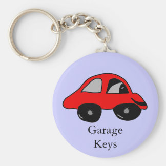Garage Keys Basic Round Button Keychain