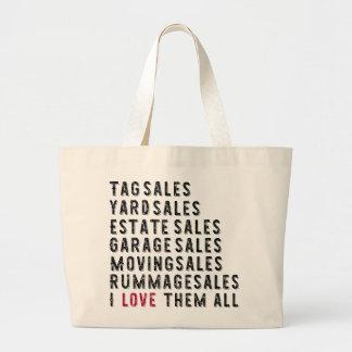 Garage Rummage Tag Yard Estate Moving Sale Lover Large Tote Bag