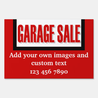 Garage sale red white lawn sign