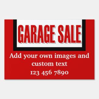 Garage sale red white lawn sign