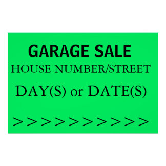 GARAGE SALE SIGN - right arrow