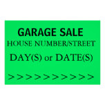 GARAGE SALE SIGN - right arrow Poster