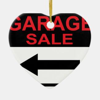 Garage Sale sign this way arrow Vector Ceramic Ornament