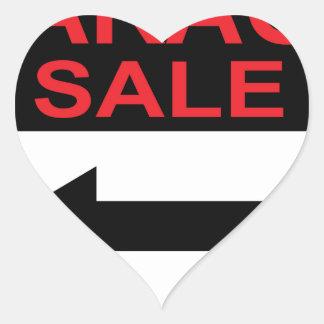 Garage Sale sign this way arrow Vector Heart Sticker