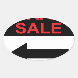 Garage Sale sign this way arrow Vector Oval Sticker