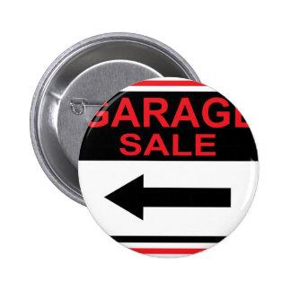 Garage Sale sign this way arrow Vector Pinback Button