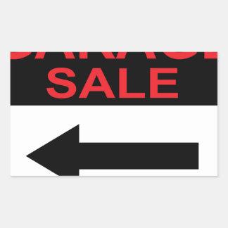 Garage Sale sign this way arrow Vector Rectangular Sticker