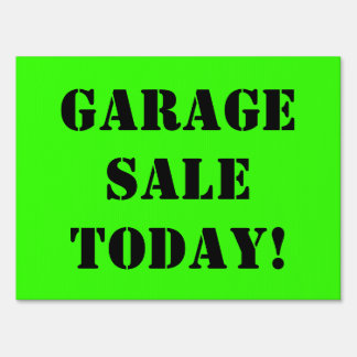 GARAGE SALE TODAY Black Text on Bright Green Sign2 Lawn Sign