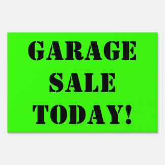 GARAGE SALE TODAY Black Text on Bright Green Sign2 Yard Sign