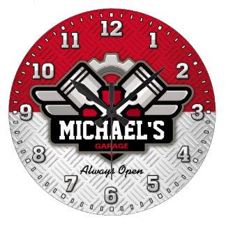 Garage Tools Man Cave Personalizable Large Clock