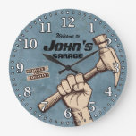 Garage Tools Man Cave Personalizable Retro-style Large Clock at Zazzle