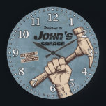 """Garage Tools Man Cave Personalizable Retro-Style Large Clock<br><div class=""""desc"""">A unique garage or man cave personalizable decorative wall clock. A great addition to any home,  garage,  shop or barn. Also makes a great gift idea for any father or husband.</div>"""