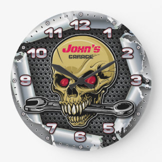 Garage Tools Man Cave Personalizable Retro-Style Large Clock