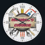 "Garage Tools Man Cave Personalizable Retro-Style Large Clock<br><div class=""desc"">A unique garage or man cave personalizable decorative wall clock.