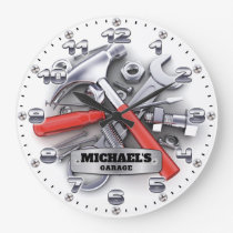 Garage Tools Man Cave Personalizable Wall Clock