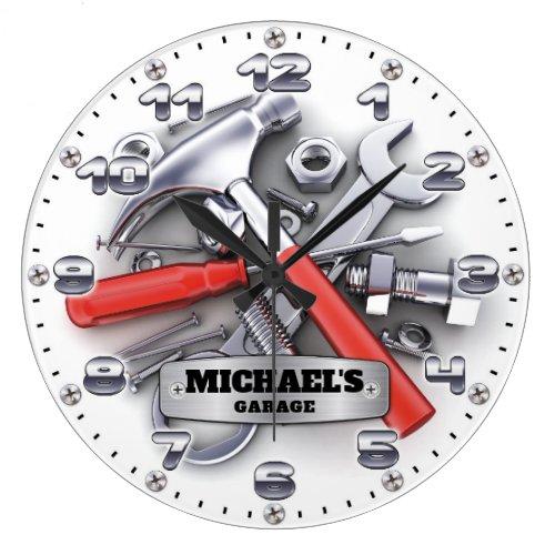 Garage Tools Man Cave Personalizable Wall Clock