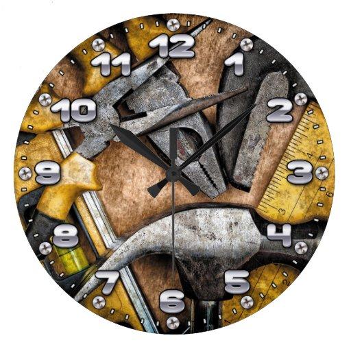 Man Cave Clock : Garage tools man cave wall clock zazzle