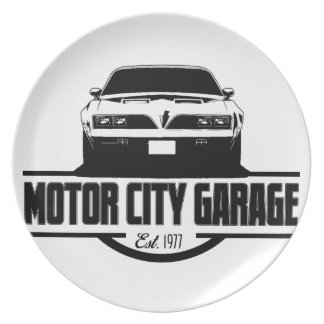 Garaje 1977 de la ciudad del motor del transporte plato