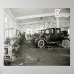 Garaje de la reparación del coche, 1900s tempranos posters