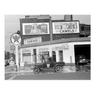 Garaje y gasolinera, 1940 postales