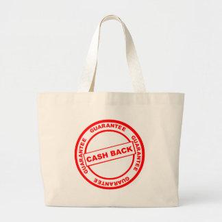 Garantía de la devolución de efectivo bolsa de tela grande