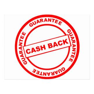 Garantía de la devolución de efectivo tarjeta postal