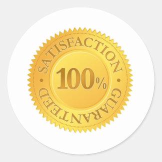 Garantía del 100% pegatina redonda