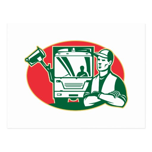 Garbage Collector and Side Loader Rubbish Truck Postcard