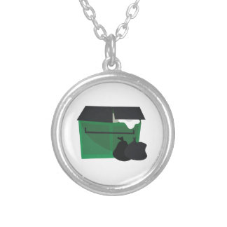 Garbage Dumpster Silver Plated Necklace