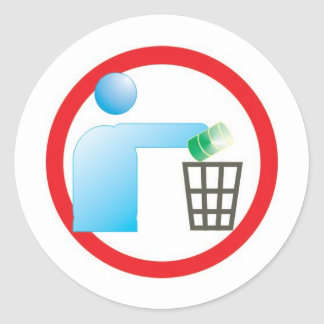 garbage in garbage plays icon citizen classic round sticker
