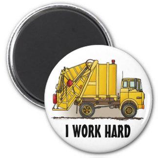 Garbage Truck 2 Construction Round Magnet I Work
