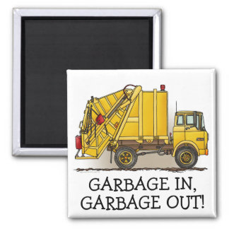 Garbage Truck 2 Construction Square Magnet In Out