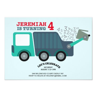 Recycling Garbage Truck Theme Boys Birthday Party Invitation