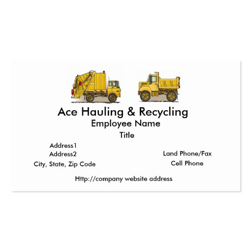 Garbage Truck Construction Business Cards
