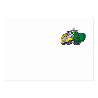 Garbage Truck Driver Waving Cartoon Pack Of Chubby Business Cards