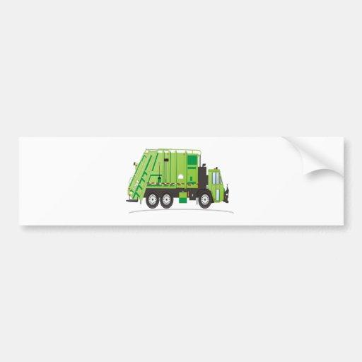 Garbage Truck Green Bumper Stickers
