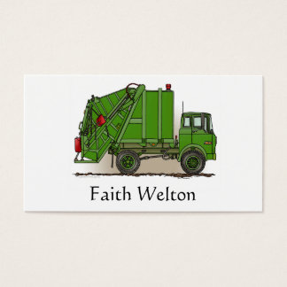Garbage Truck Green Business Card