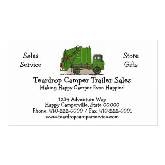 Garbage Truck Green Business Card Templates