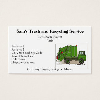 Garbage Truck Green Business Cards