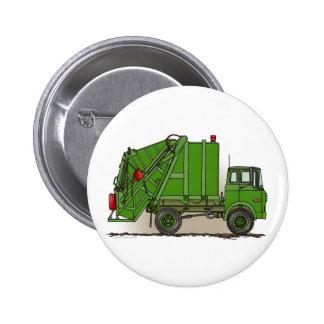 Garbage Truck Green Button Pin