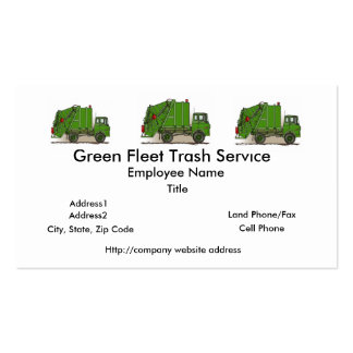 Garbage Truck Green Construction Double-Sided Standard Business Cards (Pack Of 100)
