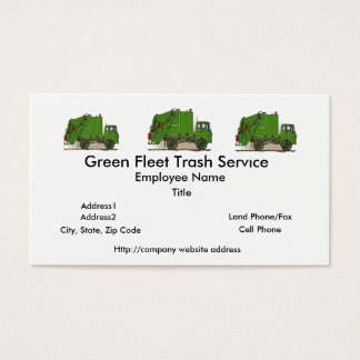 Garbage Truck Green Construction Business Card