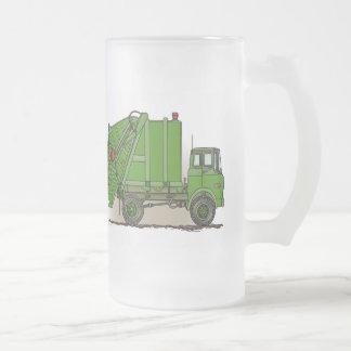 Garbage Truck Green Glass Mug