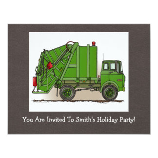 Garbage Truck Green 4.25x5.5 Paper Invitation Card