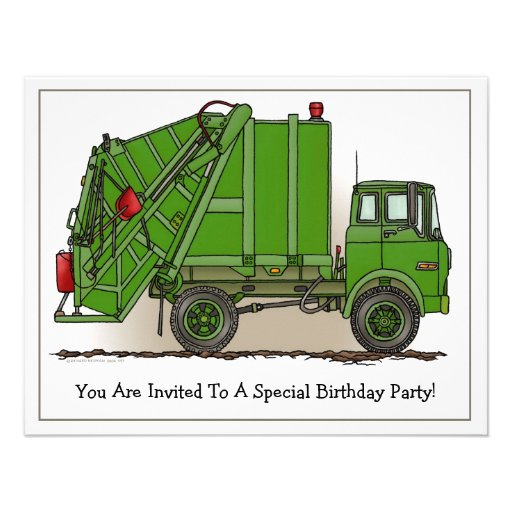 Personalized garbage truck invitations custominvitations4u garbage truck green kids party invitation filmwisefo Image collections