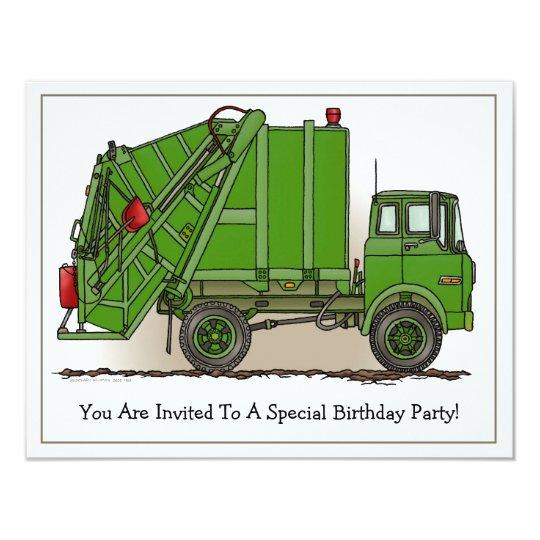 Garbage Truck Green Kids Party Invitation Zazzle