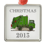 Garbage Truck Green Metal Ornament