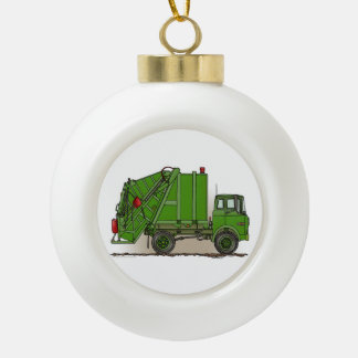 Garbage Truck Green Ceramic Ball Christmas Ornament